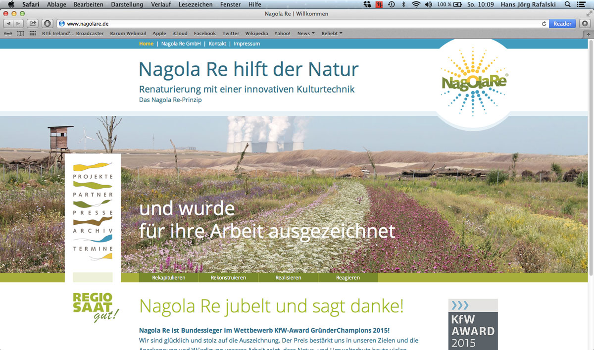 Screenshot Neue Website der Nagola Re GmbH
